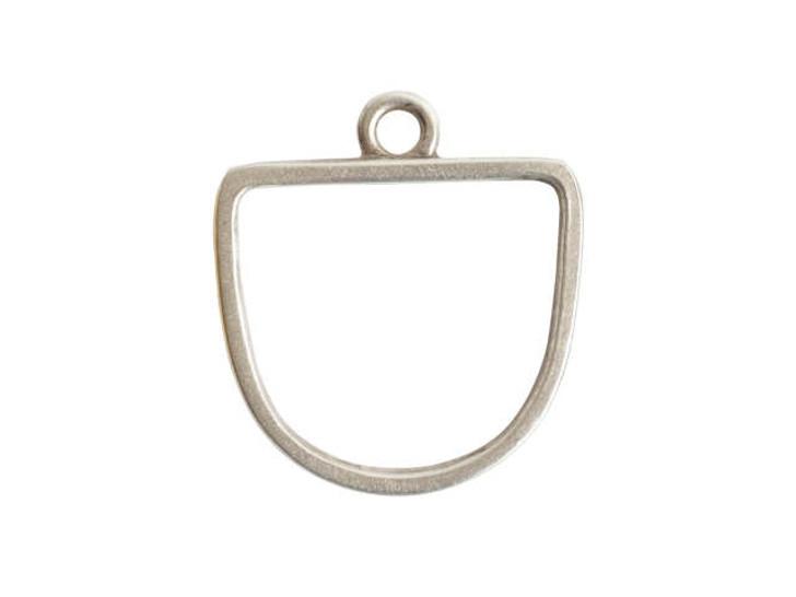 Nunn Design Antique Silver-Plated Pewter Half Oval Open Pendant