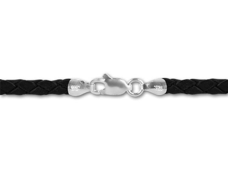 16-Inch 3.5mm Braided Leather Necklace - Black with Sterling Silver Clasp