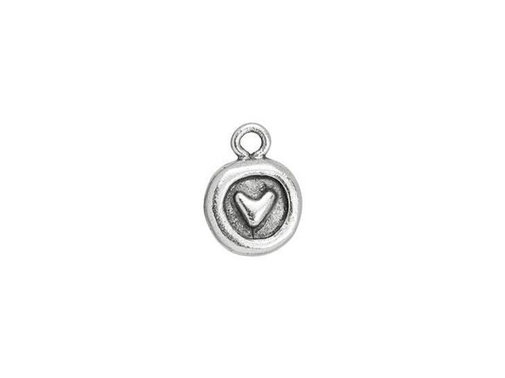 Nunn Design Antique Silver-Plated Pewter Itsy Circle Heart Charm