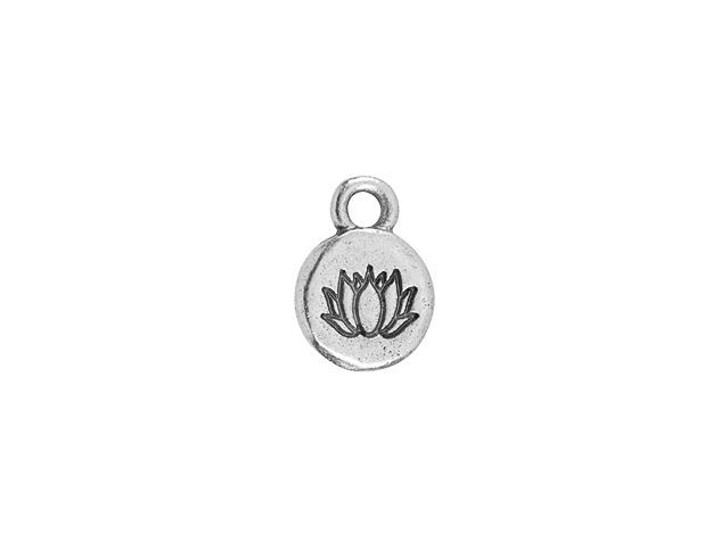 Nunn Design Antique Silver-Plated Pewter Itsy Spiritual Lotus Round Charm