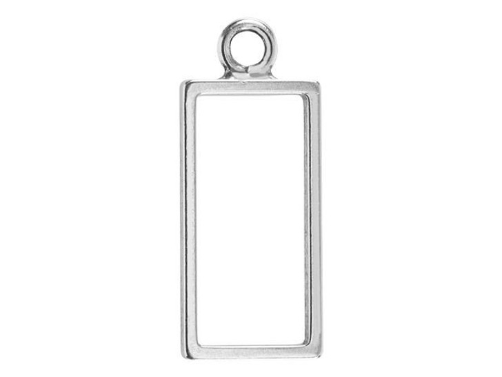 Nunn Design Antique Silver-Plated Pewter Large Rectangle Open Frame Pendant