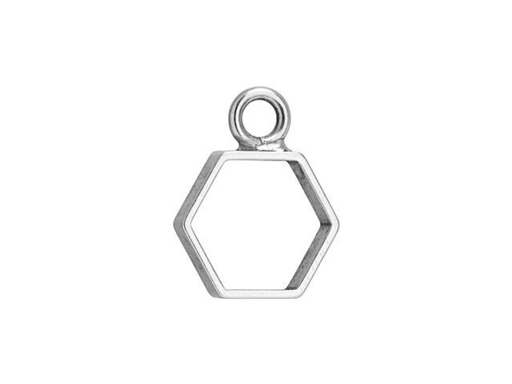 Nunn Design Antique Silver-Plated Pewter Mini Hexagon Open Frame Charm