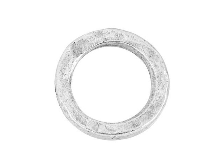 Nunn Design Antique Silver-Plated Pewter Small Hammered Circle Hoop