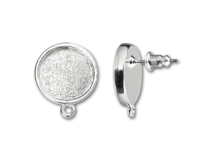 Nunn Design Bright Fine Silver-Plated Pewter Mini Circle Bezel Earring Post (Pair)