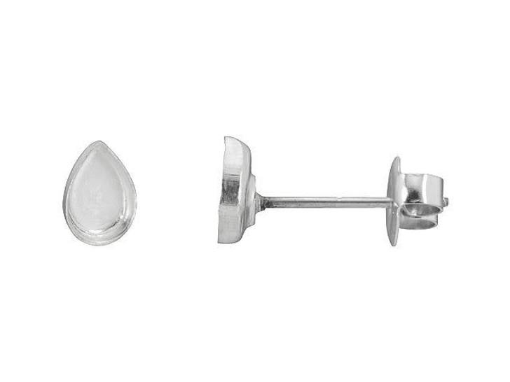 Nunn Design Silver-Plated Brass Bitsy Drop Bezel Earring Post (Pair)