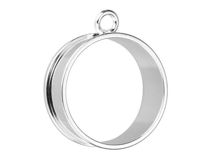 Nunn Design Silver-Plated Pewter Large Open Bezel Deep Channel Large Circle Pendant