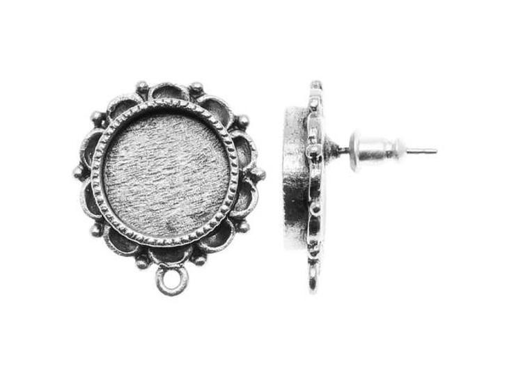 Nunn Design Silver-Plated Pewter Mini Ornate Circle Bezel Earring Post (Pair)