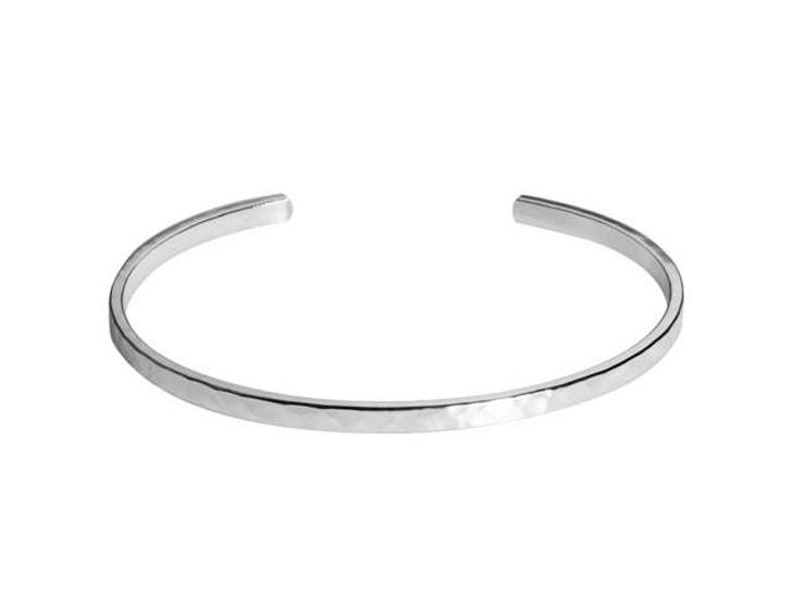Nunn Design Silver-Plated Pewter Thin Hammered Cuff Bracelet