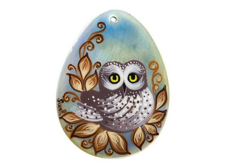 Owl with Flower Mother of Pearl Hand-Painted Pendant