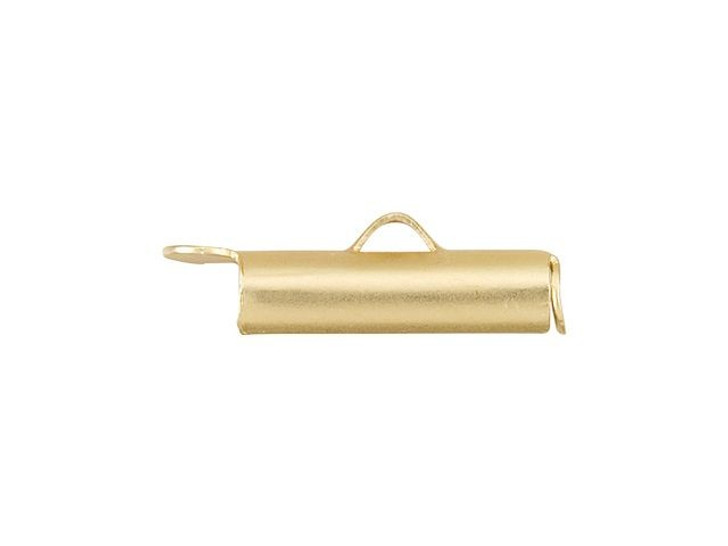16mm Satin Hamilton Gold-Plated Brass End Tube for 11/0 or 8/0 Seed Beads