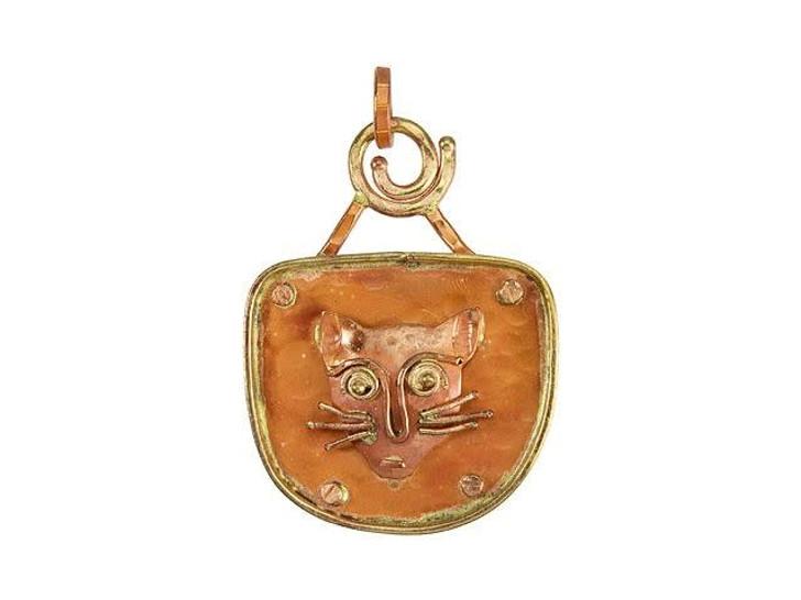 Patricia Healey Copper Cat Love Pendant