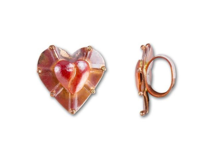 Patricia Healey Copper Heart Puffed Heart Slider Bead for Oval Leather