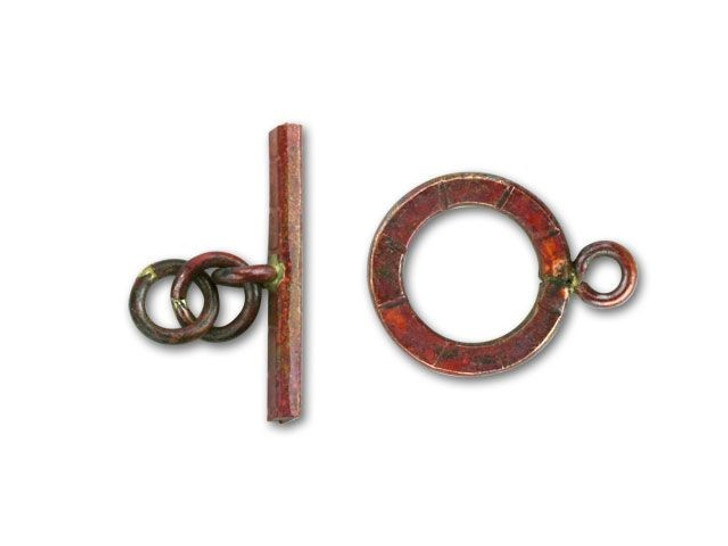 Patricia Healey Copper Line-Etched Round Toggle Clasp
