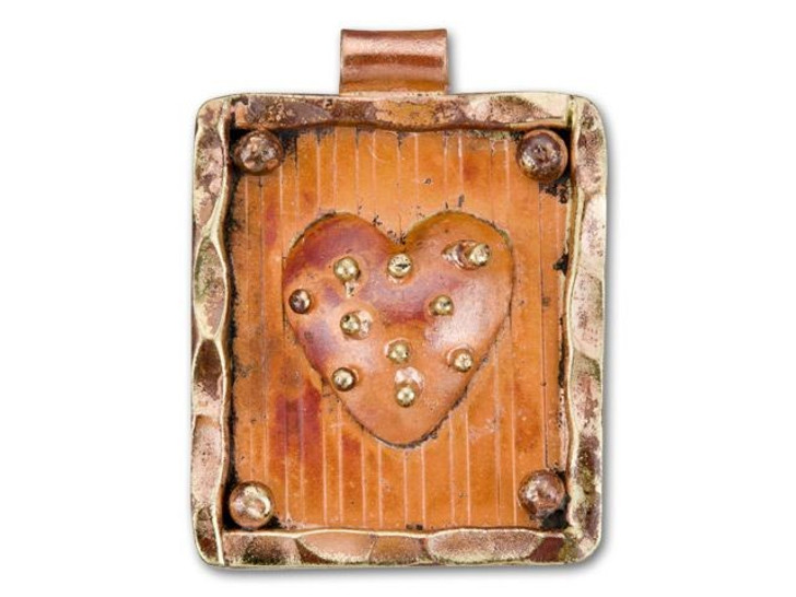 Patricia Healey Copper Rectangle Framed Heart Pendant