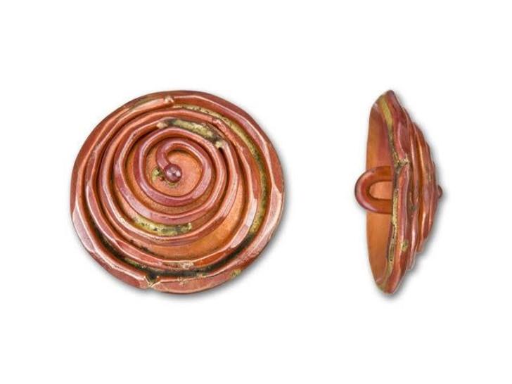 Patricia Healey Copper Round Domed Spiral Button