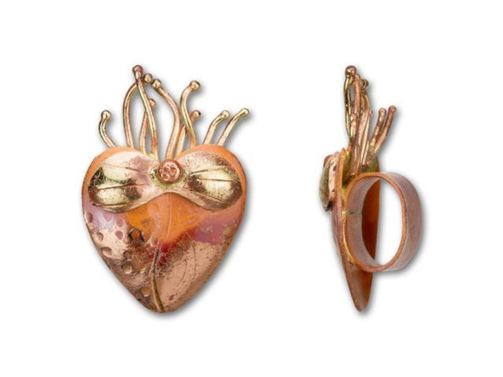 Patricia Healey Copper Sacred Heart Slider Bead for Oval Leather