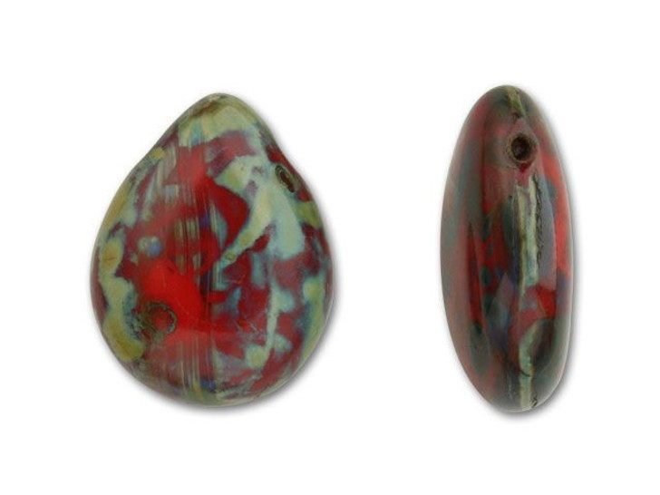 16x12mm Red with Picasso Pear Shape Drop by Starman