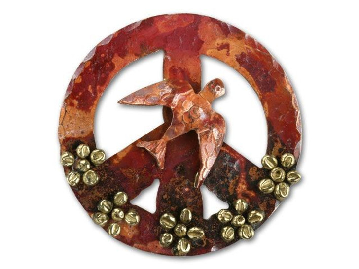 Patricia Healey Large Copper Peace Sign with Flower and Dove Bird Pendant