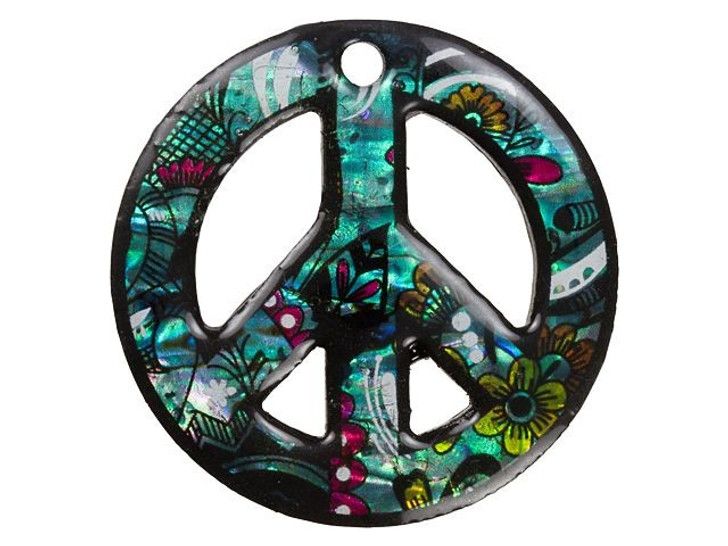 Paua Large Flower Power Peace Sign Pendant