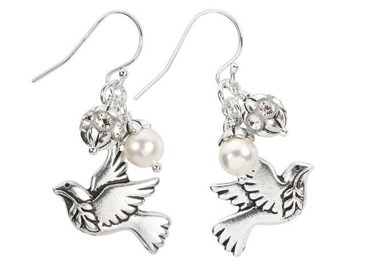 Peace Dove Earrings Kit featuring Swarovski Crystals