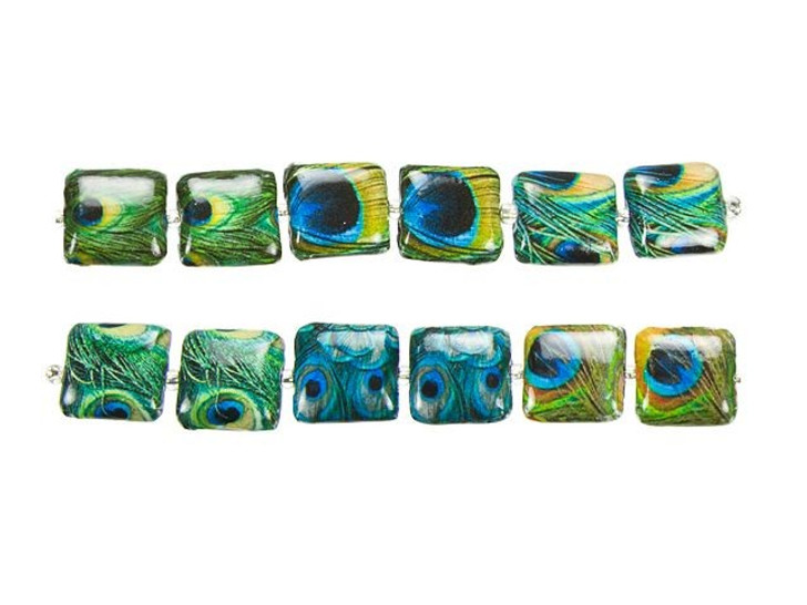 Peacock Feather Square Decoupage Bead Strand