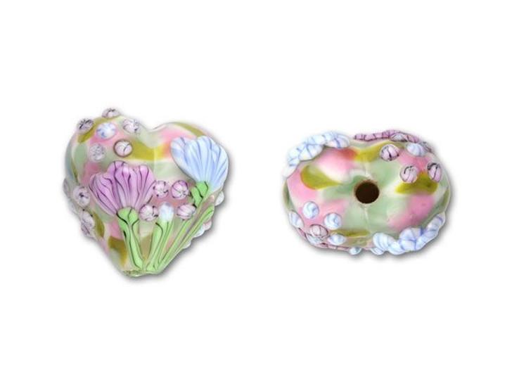 Pink Swirl Floral Heart Bead