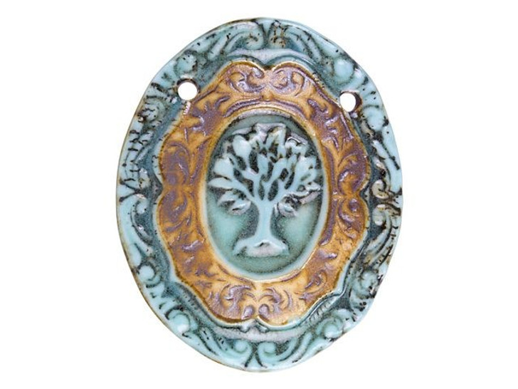 Porcelain Blue and Brown Oval Tree of Life Pendant with Two Holes by Raven's Journey