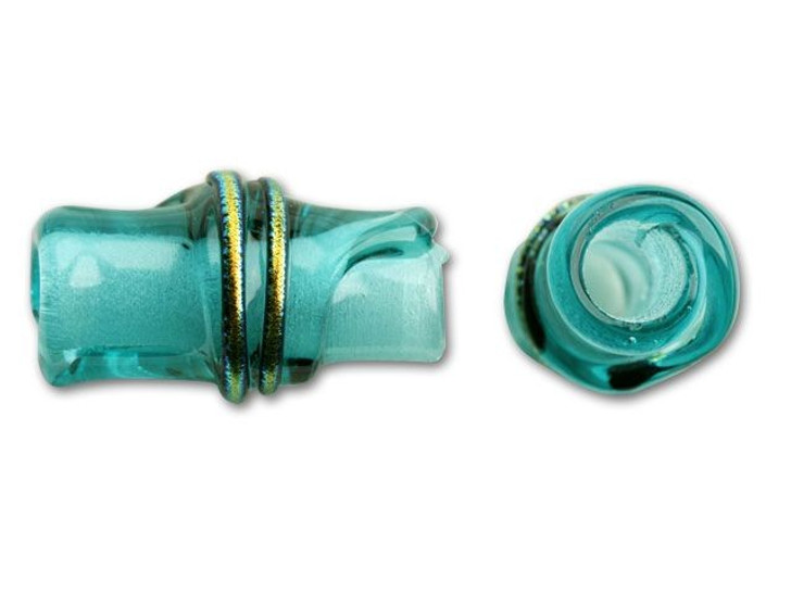 16x7mm Glass Bamboo Bead - Light Aqua