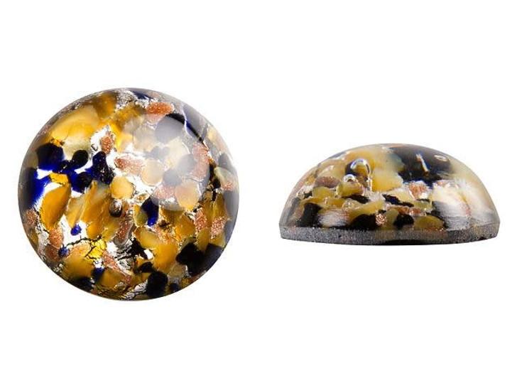 Preciosa Czech Glass Gold, Silver and Black Round Cabochon