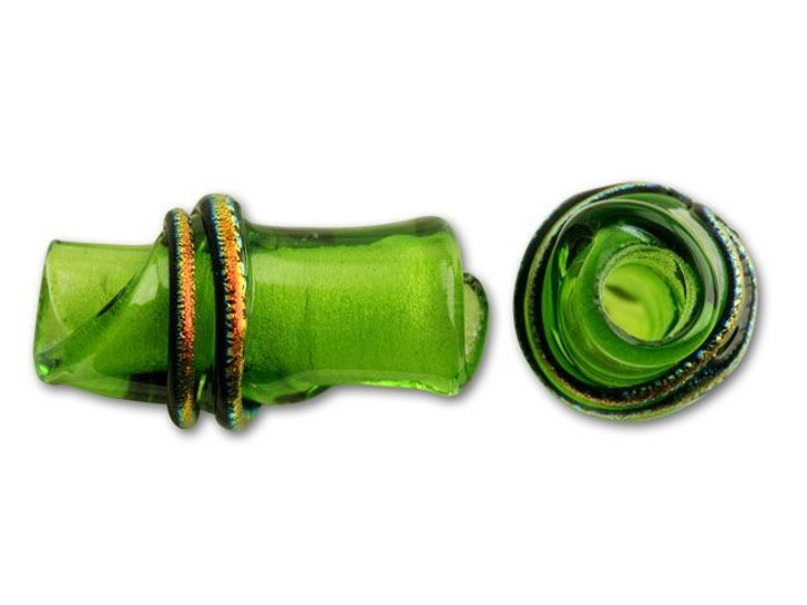 16x7mm Glass Bamboo Bead - Spring Green