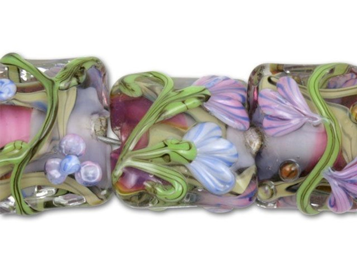 Purple Flowers with Purple and Hot Pink Center Mix Pillow Beads (7pcs)