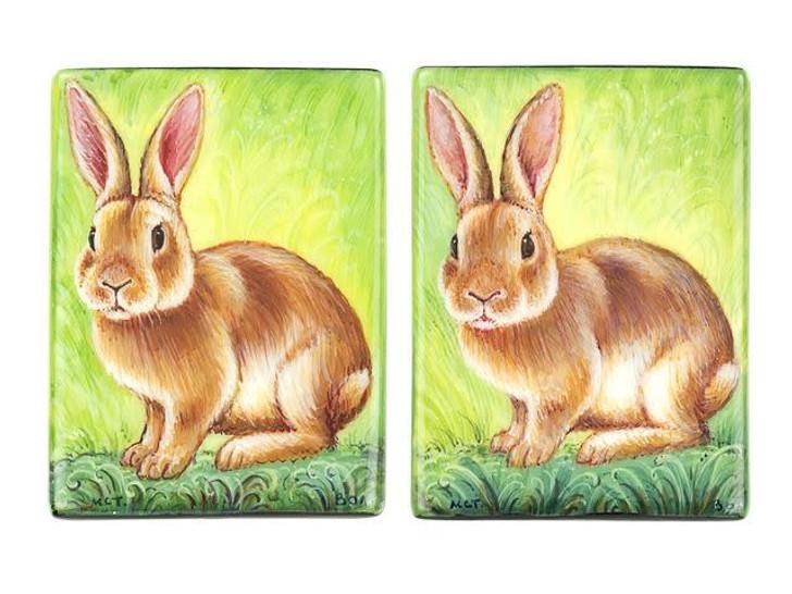 Rabbit Wildlife Painting 30 x 40mm Black Agate Bead