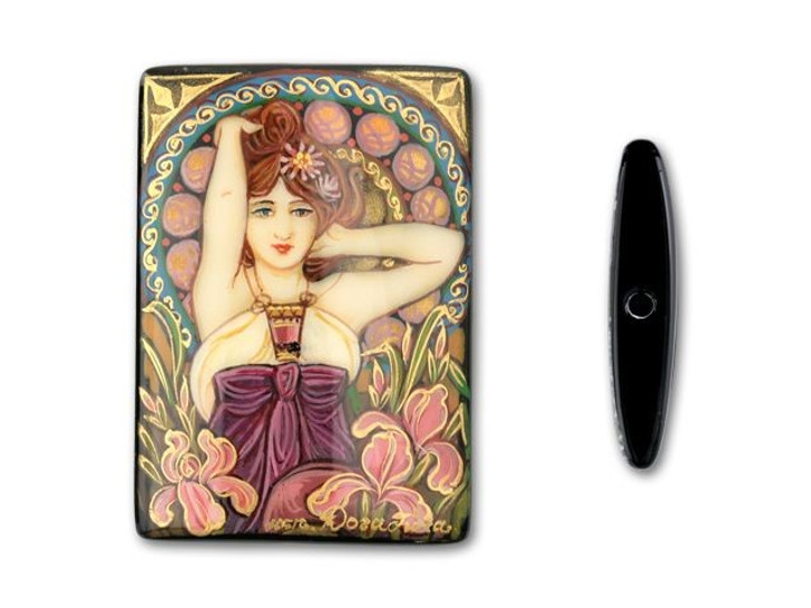 Rectangle Black Agate - Amethyst, by Mucha