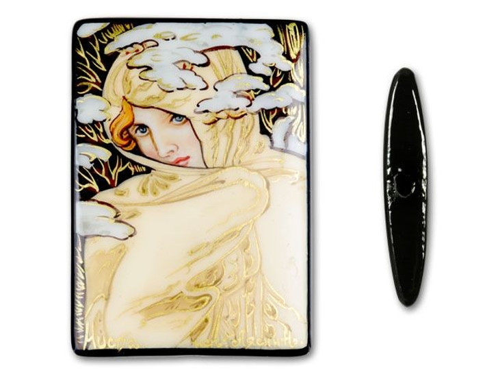 Rectangle Black Agate - Winter, by Mucha