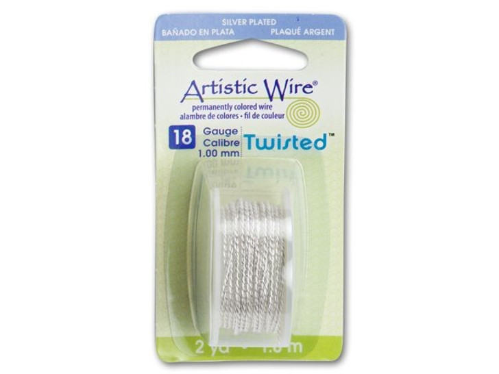 18-Gauge Silver Non-Tarnish Twisted Artistic Wire 2-Yard Spool