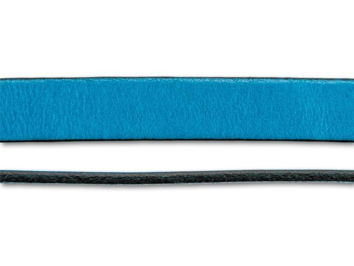 Regaliz 10mm Teal Flat Leather by the Inch