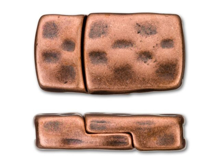 Regaliz 10x2.5mm Antique Copper-Plated Checkerboard Magnetic Clasp Set