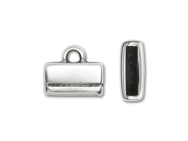 Regaliz 10x2.5mm Antique Silver-Plated Small Rectangle End Cap