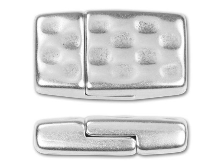 Regaliz 10x2mm Antique Silver-Plated Checkerboard Magnetic Clasp Set