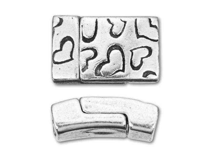 Regaliz 10x2mm Antique Silver-Plated Pewter Heart Print Rectangle Magnetic Clasp Set