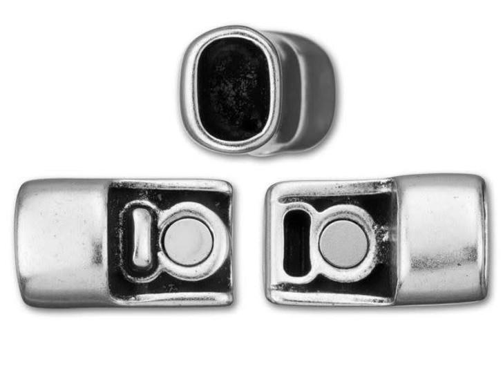 Regaliz 10x31mm Antique Silver-Plated Magnetic Clasp Set