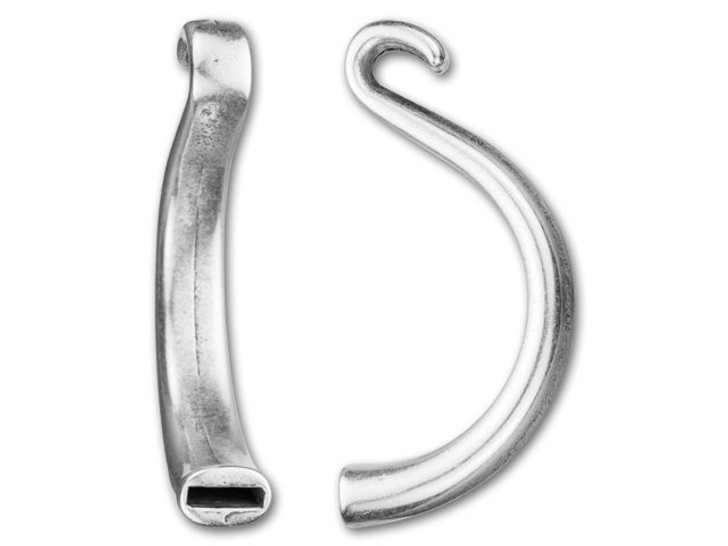 Regaliz 10x3mm Antique Silver-Plated Hook Clasp