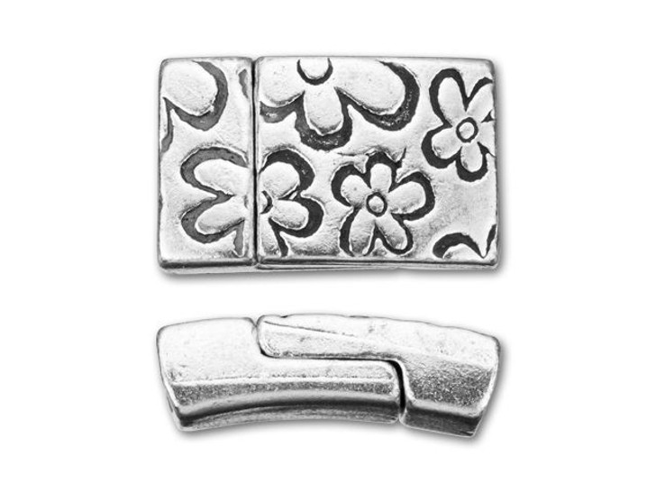 Regaliz 10x3mm Antique Silver-Plated Pewter Flower Print Rectangle Magnetic Clasp Set