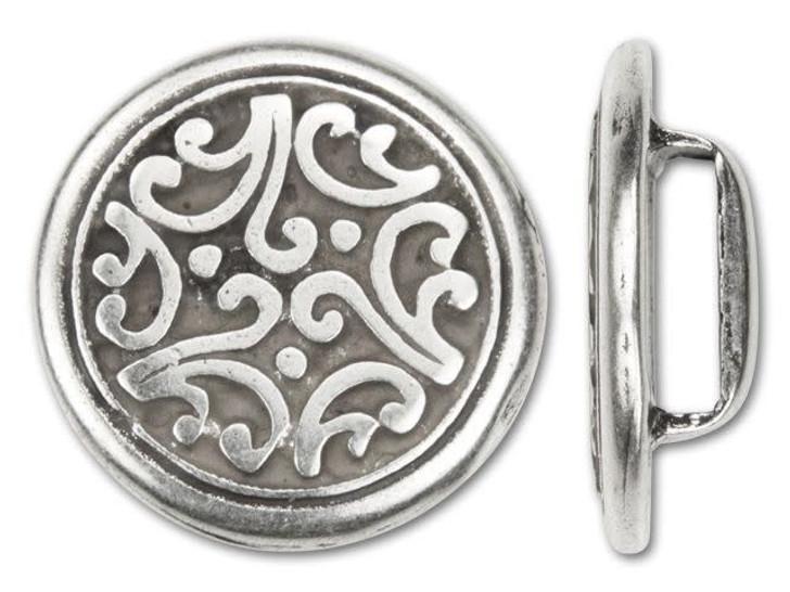 Regaliz 21mm Antique Silver-Plated Round Tibetan Floral Disc Slider Bead