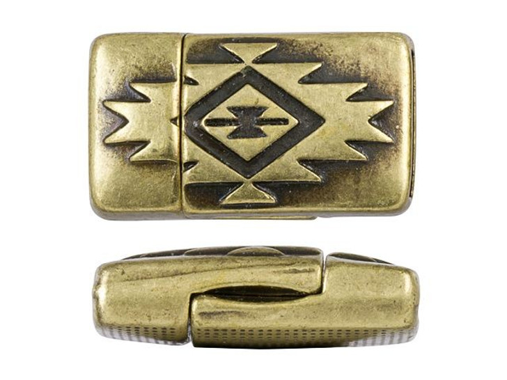 Regaliz 22x13mm Antique Brass-Plated Soutwestern Rectangle Magnetic Clasp