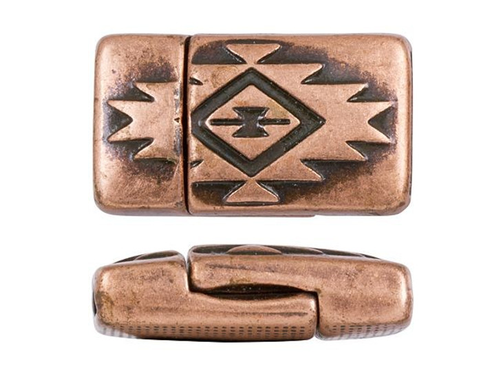 Regaliz 22x13mm Antique Copper-Plated Soutwestern Rectangle Magnetic Clasp