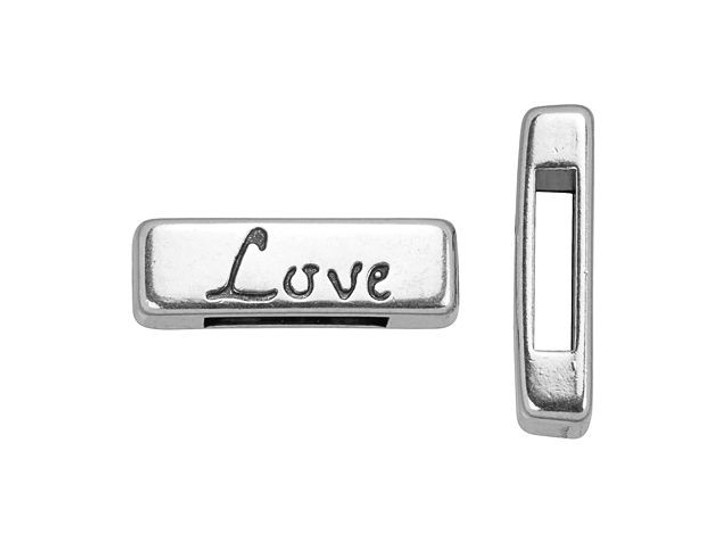 Regaliz Antique Silver-Plated Love Slider for 10mm Flat Leather