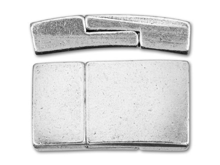 Regaliz Antique Silver-Plated Rectangle Magnetic Clasp