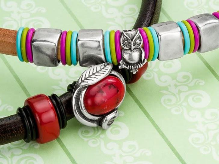 Regaliz Antique Silver-Plated Rectangle Slider Bead