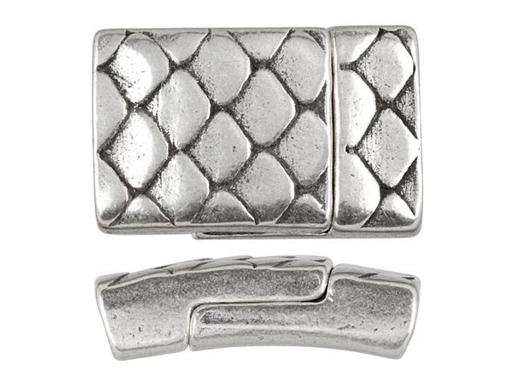 Regaliz Antique Silver-Plated Scales Magnetic Clasp